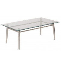 Ave Six MG1242S-NB Clear Tempered Glass Top Coffee Table with Nickel Brushed Legs