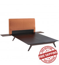 Modway MOD-5257-CAP-ORA-SET Tracy 3 Piece Queen Bedroom Set in Cappuccino Orange