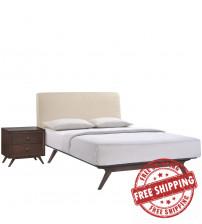Modway MOD-5260-CAP-BEI-SET Tracy 2 Piece Queen Bedroom Set in Cappuccino Beige