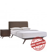 Modway MOD-5260-CAP-BRN-SET Tracy 2 Piece Queen Bedroom Set in Cappuccino Brown