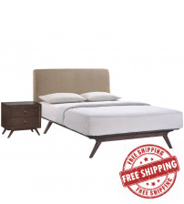 Modway MOD-5260-CAP-LAT-SET Tracy 2 Piece Queen Bedroom Set in Cappuccino Latte