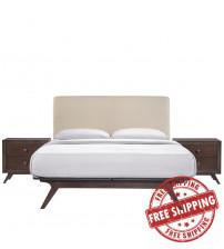 Modway MOD-5261-CAP-BEI-SET Tracy 3 Piece Queen Bedroom Set in Cappuccino Beige