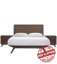 Modway MOD-5261-CAP-BRN-SET Tracy 3 Piece Queen Bedroom Set in Cappuccino Brown