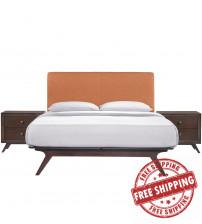 Modway MOD-5261-CAP-ORA-SET Tracy 3 Piece Queen Bedroom Set in Cappuccino Orange