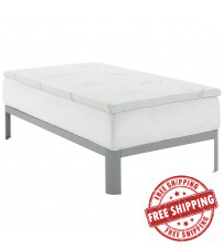 "Modway MOD-5571-WHI Relax Twin 2"" Gel Memory Foam Mattress Topper in White"