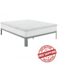 "Modway MOD-5573-WHI Relax Queen 2"" Gel Memory Foam Mattress Topper in White"