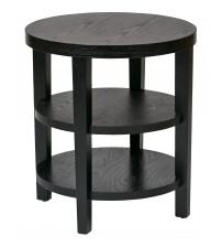 Ave Six MRG09-BK Work Smart Merge 20 Round End Table Black Finish
