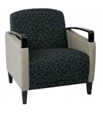 Ave Six MST51-K100-R103 Main Street 2-Tone Custom Luna and Stratus Fabric Chair with Espresso Finish Wood Accents
