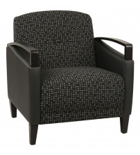 Ave Six MST51-K101-R107 Main Street 2 Tone Custom Onyx and Black Fabric Chair with Espresso Finish Wood Accents