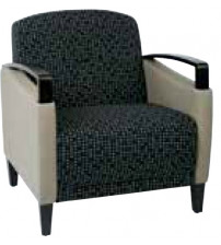 Ave Six MST51-K104-R102 Main Street 2 Tone Custom Cocoa and Java Fabric Chair with Espresso Finish Wood Accents