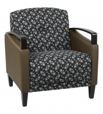 Ave Six MST51-K107-R102 Main Street 2 Tone Custom Domino and Java Fabric Chair with Espresso Finish Wood Accents