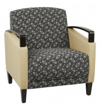 Ave Six MST51-K108-R104 Main Street 2 Tone Custom Steely and Buff Fabric Chair with Espresso Finish Wood Accents