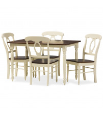 Baxton Studio Napoleon-Cherry/Buttermilk 5PC Dining Set Napoleon French Country Cottage5-Piece Dining Set