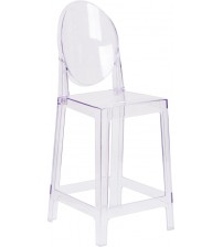 Flash Furniture OW-GHOSTBACK-24-GG Oval Back Ghost Counter Stool in Clear