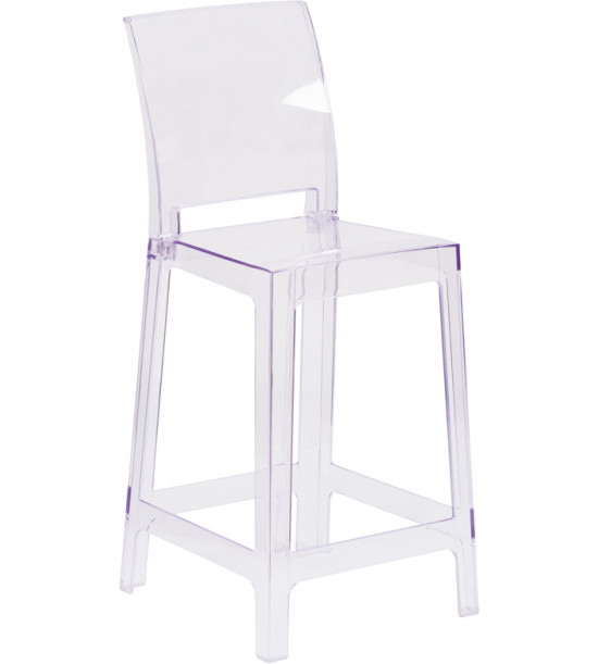 Flash Furniture OW-SQUAREBACK-24-GG Square Back Ghost Stool in Clear