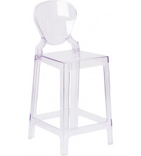 Flash Furniture OW-TEARBACK-24-GG Tear Back Ghost Counter Stool in Clear