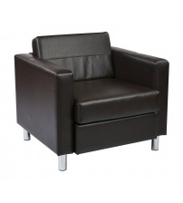 Ave Six PAC51-V34 Pacific Easy Care Espresso Faux Leather Armchair with Box Spring Seat