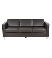 Ave Six PAC53-V34 Pacific Easy Care Espresso Faux Leather Sofa Couch with Box Spring Seat
