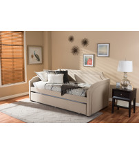 Baxton Studio Parkson-Beige-Daybed Parkson Curved Notched Corners Sofa Twin Daybed