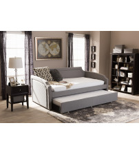 Baxton Studio Parkson-Grey-Daybed Parkson Corners Sofa Twin Daybed with Roll-Out Trundle Guest Bed