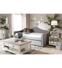 Baxton Studio Prime-Grey-Daybed Prime Upholstered Back Sofa Daybed with Roll-Out Trundle Guest Bed