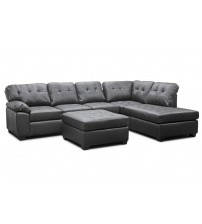 Baxton Studio R7470 3Pc-Chocolate Mario Brown Leather Modern Sectional Sofa With Ottoman