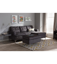 Baxton Studio R76032-Grey-SF Riley Modern and Contemporary 3-Piece Sectional Sofa with Ottoman Set