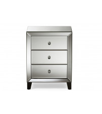 Baxton Studio RS1155 Chevron Hollywood Regency Glamour Style Mirrored 3-Drawers Nightstand Bedside Table