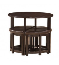 Baxton Studio Bar Table with Nesting Stools Dark Brown RT-130 PUB and STL