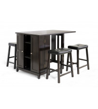 Baxton Studio RT204-PUB(1)/STL(4) Aurora Modern Pub Table Set In Dark Brown