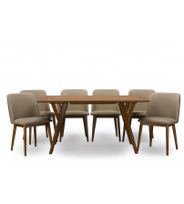 Baxton Studio RT324 7PC Dining Set Lavin Mid-Century Dark Walnut Wood 7PC Dining Set