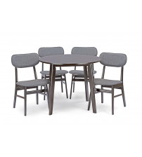 Baxton Studio RT332-336-TBL-CHR 5PC Set Debbie Mid-Century Wood 5PC Dining Set