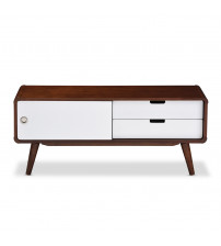 Baxton Studio RT387-OCC-White/Dark Walnut Armani Two-tone Finish 2-drawer with Sliding Door Wood TV Cabinet