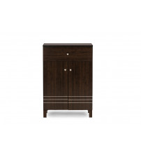 Baxton Studio SC864598-Wenge Felda Dark Brown Shoe Cabinet with 2 Doors and Drawer