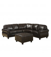 Baxton Studio 9178-LAF/Otto/RAF/We Hammond Leather Modern Sectional Sofa in Dark Brown