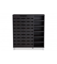 Baxton Studio SR-002-Espresso Shirley Dark Brown Wood 2-Door Shoe Cabinet with Open Shelves