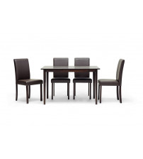 Baxton Studio Susan Dining Set in Dark Brown