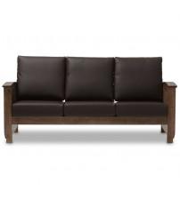Baxton Studio SW3513-Dark Brown/Walnut-M17-SF Charlotte 3-Seater Sofa