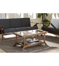 Baxton Studio SW5236-Walnut-M17-CT Cayla Living Room Glass-Top Coffee Table