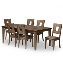 Baxton Studio TBC-15274-Oak/Grey 7PC Set Gillian Shabby Chic Country Cottage 2-Tone Wood Veneer Top 7-Piece Extendable Dining Set