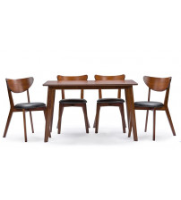 Baxton Studio RT331-TBL-CHR Sumner Mid-Century Style 5-Piece Dining Set