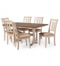Baxton Studio TFAV-13226/ALR-13322 7PC Set Roseberry Shabby French Country 7-Piece Dining Set with Dining Table