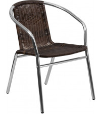Flash Furniture TLH-020-GG Aluminum and Dark Brown Rattan Indoor-Outdoor Restaurant Chair