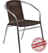 Flash Furniture TLH-020-GG Aluminum and Dark Brown Rattan Indoor-Outdoor Restaurant Chair