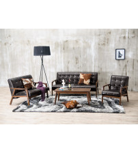 Baxton Studio TOGO 3PC Sofa Set Mid-Century Masterpieces 3PC Sofa Set-Brown