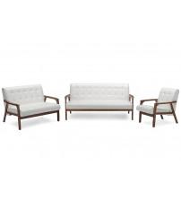 Baxton Studio TOGO 3PC Sofa Set-White Mid-Century Masterpieces 3 Pieces Living Room Set