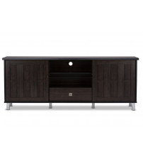 Baxton Studio TV831240 -Wenge Unna 70-Inch Wood TV Cabinet with 2 Sliding Doors and Drawer