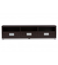 Baxton Studio TV834127-Wenge Gerhardine Wood 63-Inch TV Cabinet with 3-drawer in Dark Brown