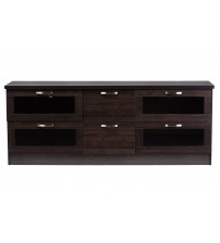 Baxton Studio TV834133-Wenge Adelino 63 Inches Wood TV Cabinet with 4 Glass Doors and 2 Drawers