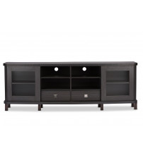 Baxton Studio TV838070-Embosse Walda 70-Inch Wood TV Cabinet with 2 Sliding Doors and 2 Drawers in Dark Brown